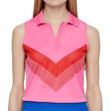 J.Lindeberg Ladies Lisa TX Sleeveless Jaquard Polo Shirt Pop Pink