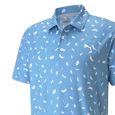 Puma Gents Cloudspun Feathers Polo Shirt Mazarine Blue - Bright White