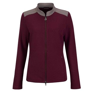 Golfino Ladies Mid-Layer Golf Jacket With Playful Details and Stretch Function Merlot