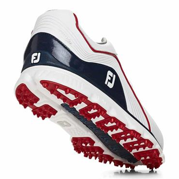 FootJoy Gents Pro SL Shoes Medium-Fit White - Navy - Red