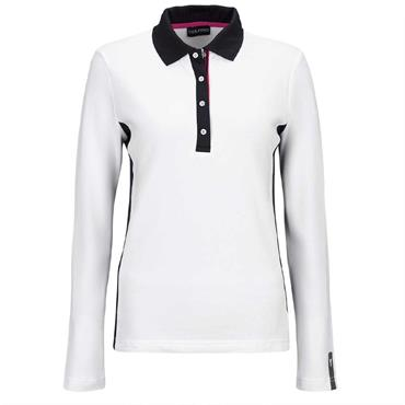 Golfino Ladies Revolution Long Sleeve UV Pique Polo Shirt White