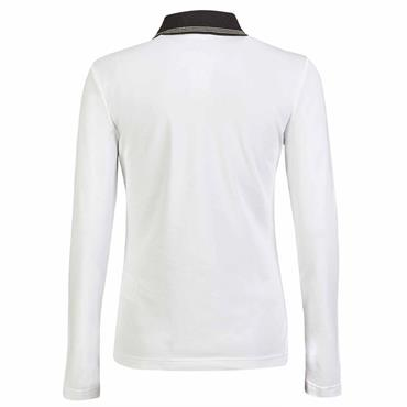 Golfino Ladies Long Sleeve UV Pique Troyer Zip Polo Shirt White