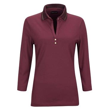 Golfino Ladies 3/4 Sleeve UV Protection Pique Polo Shirt Merlot