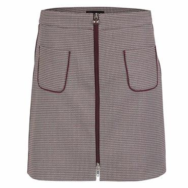 Golfino Ladies Elegant Jacquard Golf Skirt with Fashionable Pattern in Medium Length Merlot