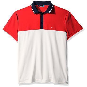 J.Lindeberg Gents Johan Reg TX Torque Polo Shirt Red