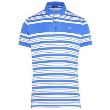 J.Lindeberg Gents Ralfs Striped Slim TX Polo Shirt Blue