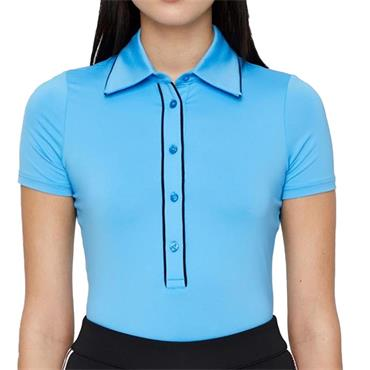 J.Lindeberg Ladies Flor Compression Polo Shirt Blue 6226