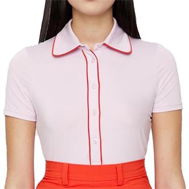 J.Lindeberg Ladies Flor Compression Polo Shirt Rose