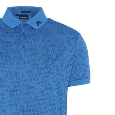 J.Lindeberg Gents KV Jaquard Reg Fit Polo Shirt Blue