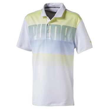 Puma Junior - Boys Logo Polo White - Nrgy Yellow