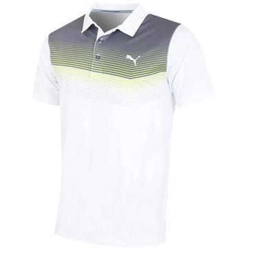 Puma Gents Road Map Polo Shirt White - Acid Lime