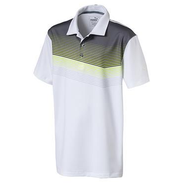 Puma Junior - Boys Road Map Polo Shirt White - Acid - Lime