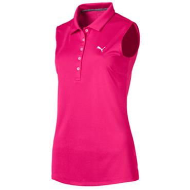 Puma Ladies Pounce Sleeveless Polo Shirt Fuchsia
