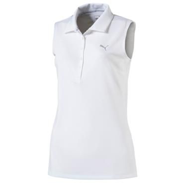 Puma Ladies Pounce Sleeveless Polo Shirt White