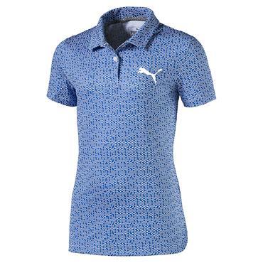 Puma Junior Girls Polka Dot Polo Shirt Blue