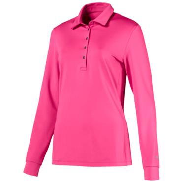 Puma Ladies Long Sleeve Polo Shirt Carmine Rose
