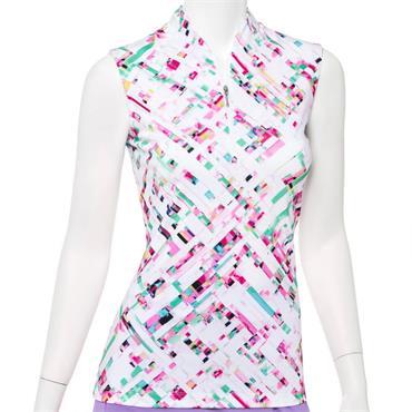 EPNY Ladies Sleeveless Zip Mandarin Collar Polo Shirt White Multi