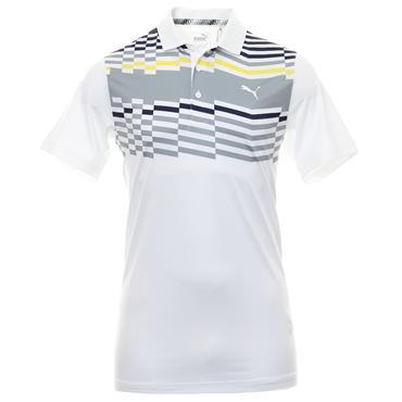 Puma Gents Road Map Polo Shirt White - Yellow