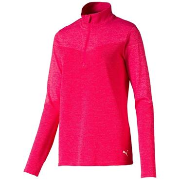 Puma Ladies EvoKnit Golf 1/4 Zip Top Azalea