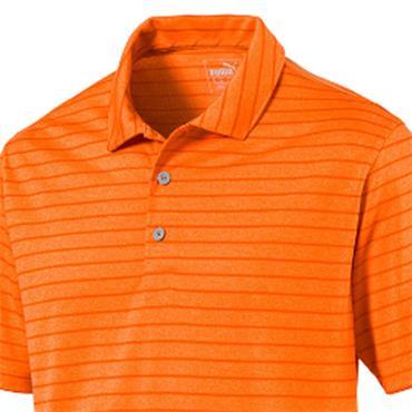 Puma Gents Rotation Stripe Polo Shirt Vibrant Orange