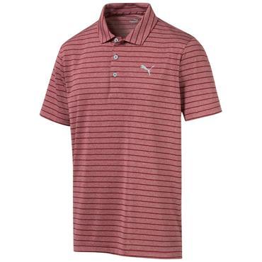 Puma Gents Rotation Stripe Polo Shirt Rhubarb
