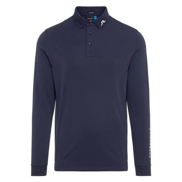 J.Lindeberg Gents Tour Tech Long Sleeve Reg Tx Jersey Polo Shirt Navy