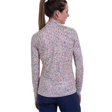 EPNY Ladies Long Sleeve Cascading Watercolour Zip Print Polo Shirt White Multi