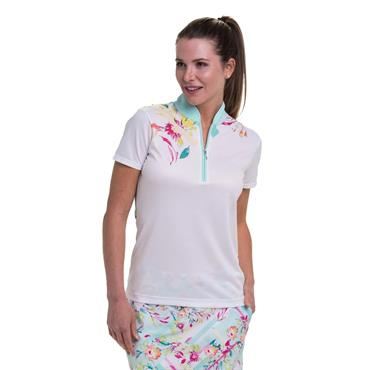 EPNY Ladies Linear Floral Placed Print Polo Shirt White Multi