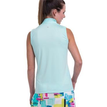 EPNY Ladies Short Sleeve Zip Mock Neck Polo Shirt White Multi