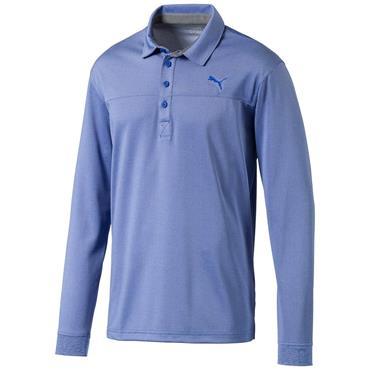 Puma Gents Long Sleeve Polo Shirt Blue Heather