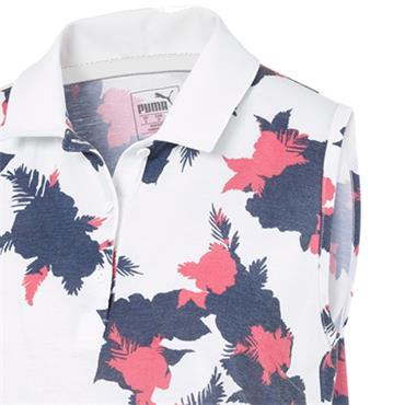 Puma Ladies Floral S/L Polo Dark Denim