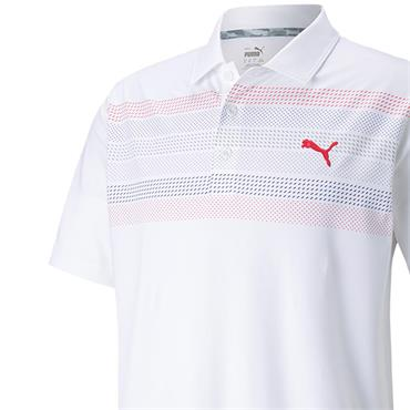 Puma Gents Cloudspun Road Map Polo Shirt White - Teaberry