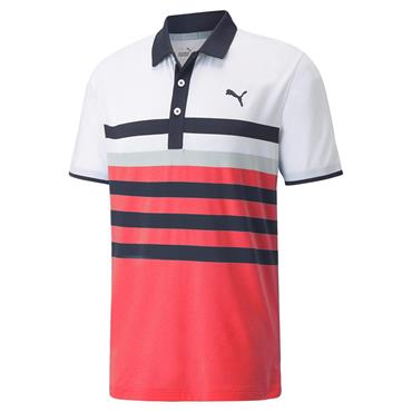 Puma Gents MATTR One Way Polo Shirt Teaberry - Bright White