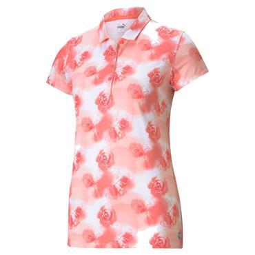 Puma Ladies Cloudspun Floral Polo Peach Pink