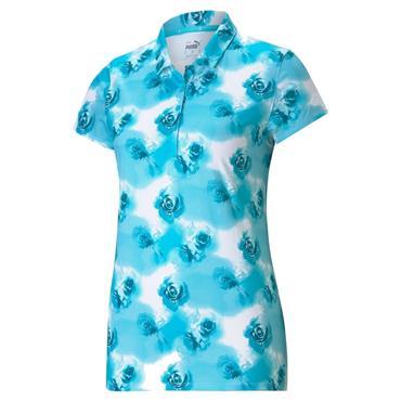 Puma Ladies Cloudspun Floral Polo Scuba Blue