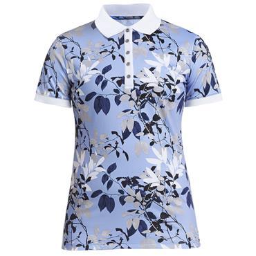 Rohnisch Ladies Leaf Polo Shirt Blue Leaves