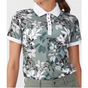 Rohnisch Ladies Leaf Polo Shirt Green Leaves