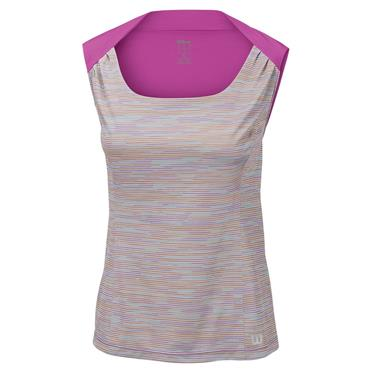 Wilson Ladies Star Striated Tennis Tank Pearl Grey - Pink