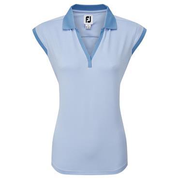 FootJoy Ladies End on End Stripe Lisle Top Blue Jay