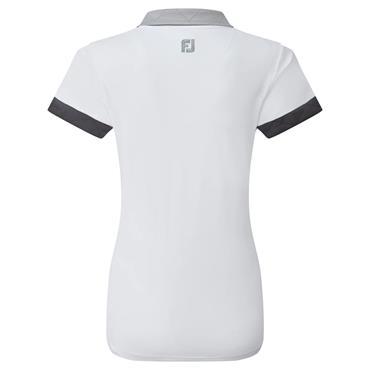 FootJoy Ladies Block Pique Polo Shirt White - Grey