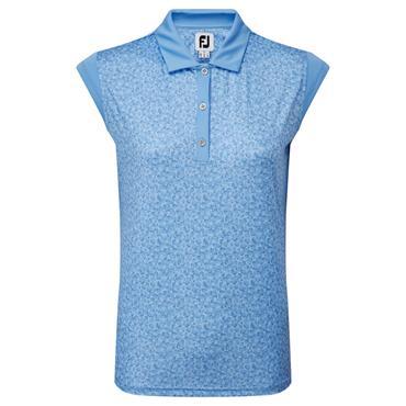 FootJoy Ladies Cap Sleeve Print Top Blue Jay