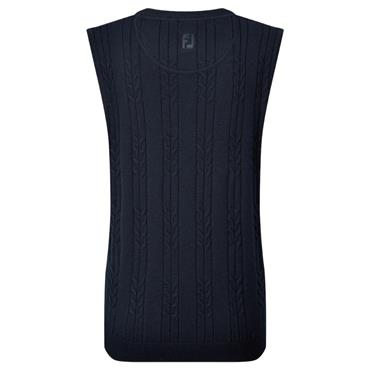FootJoy Ladies Wool Blend Cable Knit V-Neck Top Navy