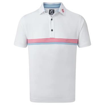 FootJoy Gents Lisle Engineered Polo Shirt White - Red - Blue
