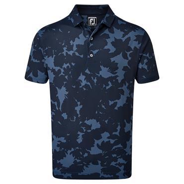 FootJoy Gents Pique Camo Floral Print Polo Shirt Navy