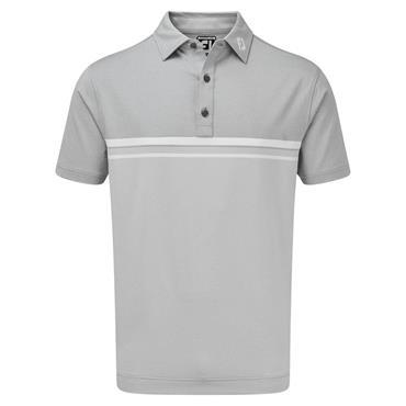 FootJoy Gents Lisle Engineered Stripe Polo Shirt Grey - White