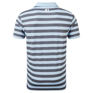 FootJoy Gents Stretch Pique Rugby Stripe Polo Shirt Heather Sky - Heather Navy