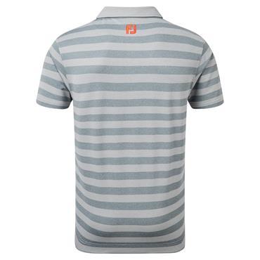 FootJoy Gents Stretch Pique Rugby Stripe Polo Shirt Heather Grey - Heather Smoke