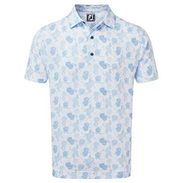 FootJoy Gents Vintage Floral Print Lisle Polo Shirt Sky Blue