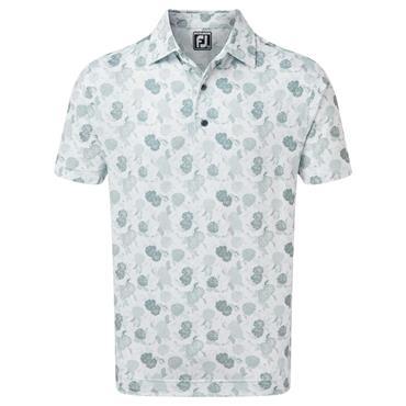 FootJoy Gents Vintage Floral Print Lisle Polo Shirt Grey