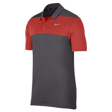 Nike Gents Dry Colour Block Polo Shirt Gunsmoke Grey - Red